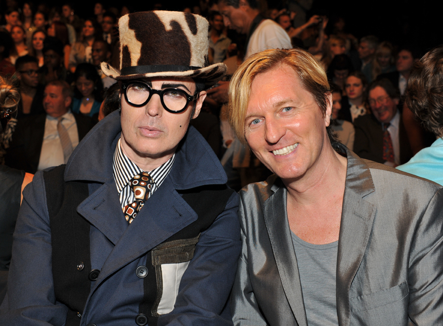 Dandy Patrick McDonald and Keanan Duffty, front row at the Academy of Art University Mercedes-Benz Fashion Week show.