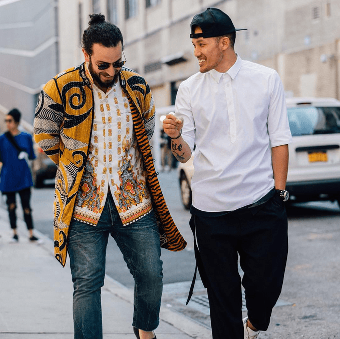 Social media was flooded with photos of #streetstyle during NYFWM. Photo via @CFDA Instagram