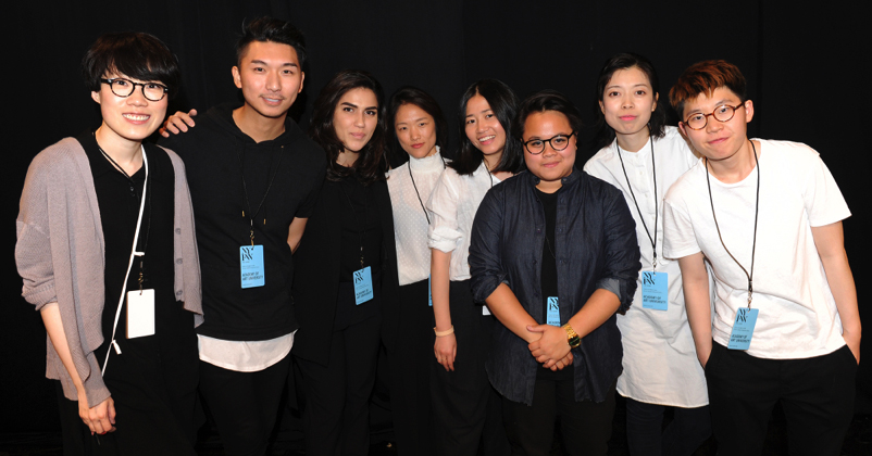 From left to right: Jingci Jessie Wang, Max Lu, Mehrzad Hemati, Bom Kim, Liz Li, Livia Bianda, Wenhan Yuan, and Ruone Yan. Photo by David Dooley.