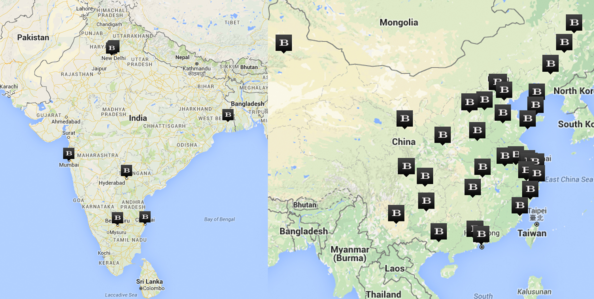 Left: Burberry stores in India, Right: Burberry stores in China. Taken from Burberry.com