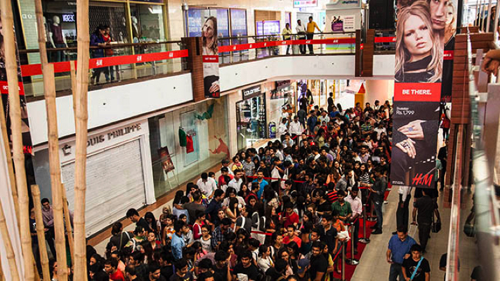 First H&M store opening in New Delhi, India. Photo via H&M