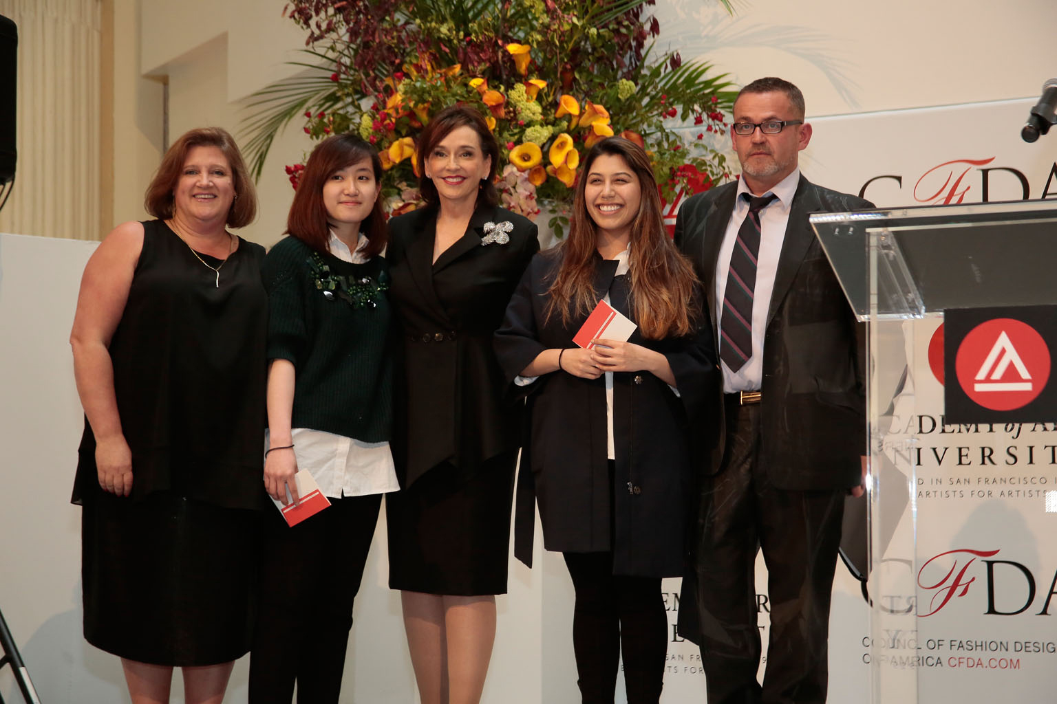 CFDA Executive Director, Lisa Smilor, Anh Phuong Thy Do, President Elisa Stephens, Pitzy Villagomez Ortega and Executive Director of Academy of Art University School of Fashion, Simon Ungless.Photo courtesy of John Perez