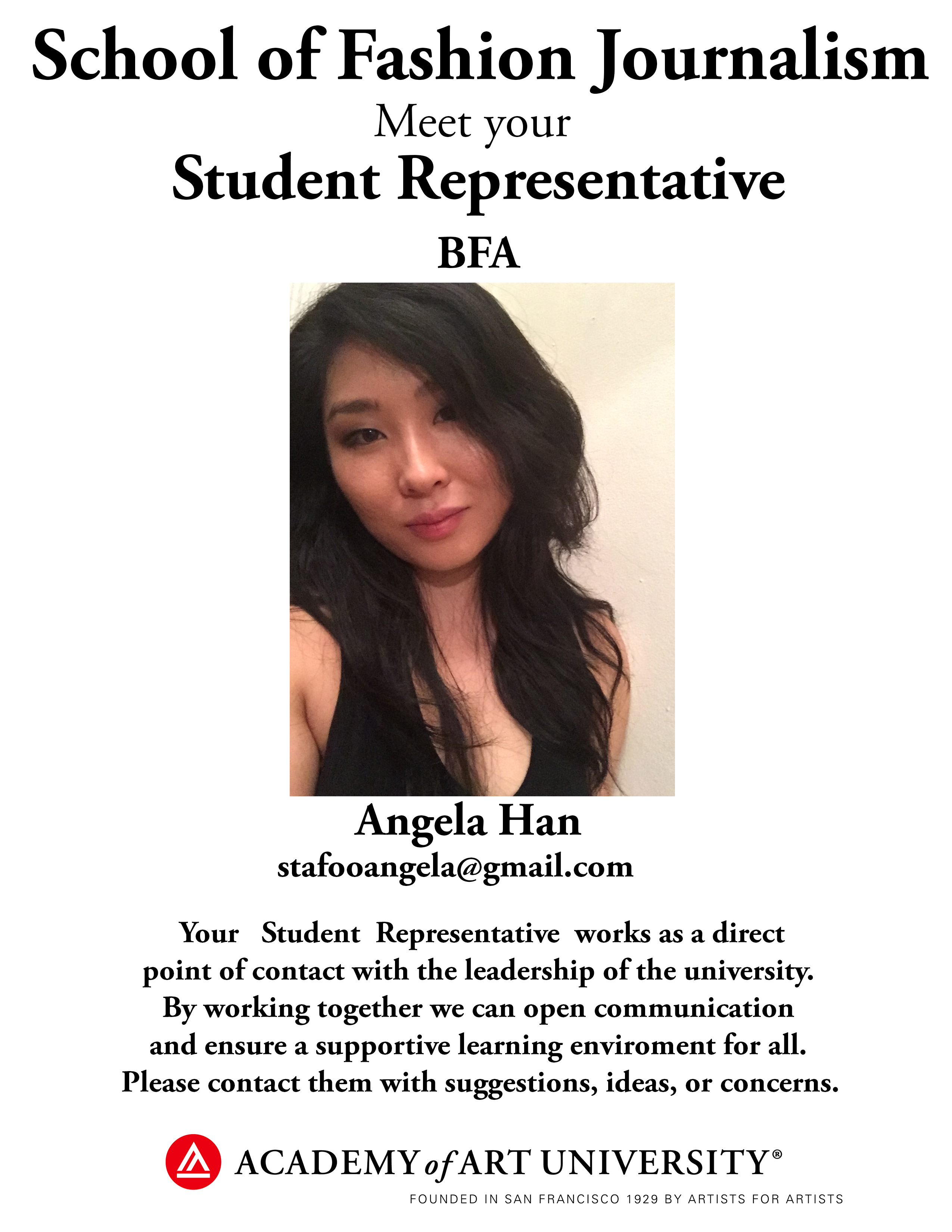 BA Fashion Journalism student representative Angela Han/email: stafooangela@gmail.com