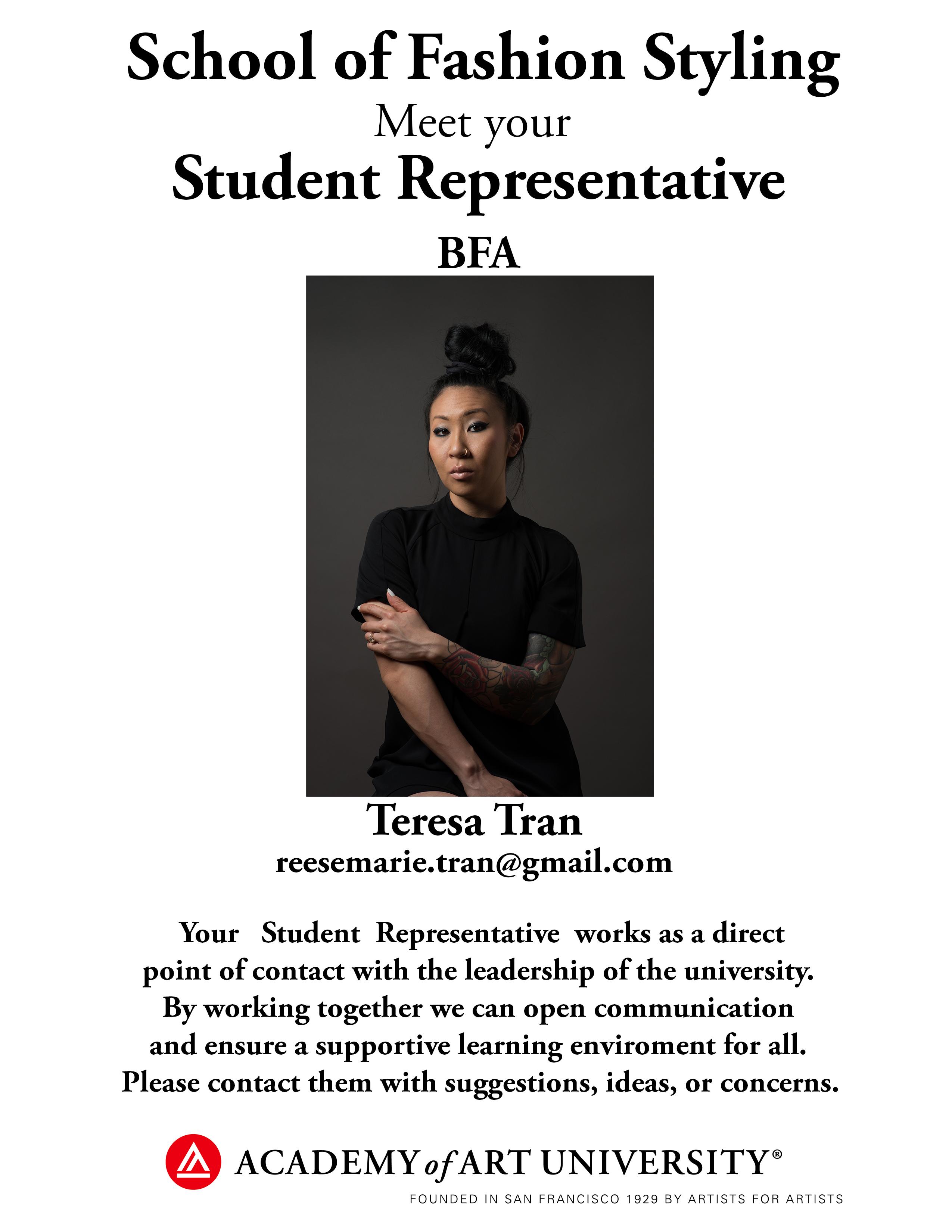 BFA Fashion Styling student representative Teresa Tran/email: reesemarie.tran@gmail.com