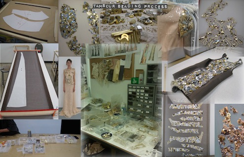 Collage of pictures with Tambour beading process