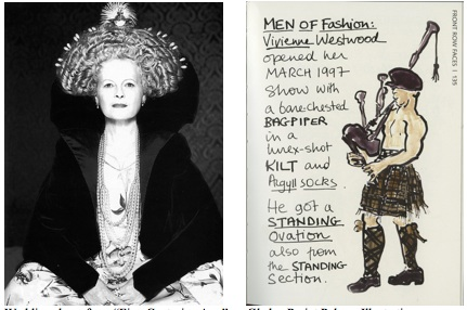 "Westwood dons a wedding dress from the ""Five Centuries Ago"" collection (left) and Gladys Perint Palmer's bagpiper illustration"