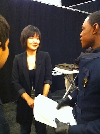 Minha smiles for reporters.