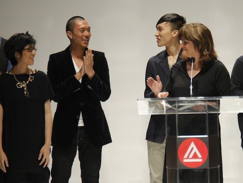Chris Li, (from left) Casey Evangelista and Ran Bi were presented with CFDA awards by New York Time fashion critic, Cathy Horyn. Photo credit: Randy Brooke