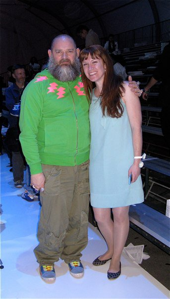Mariah Groves (right) with Walter Van Beirendonck