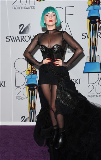 Lady Gaga at last night's 2011 CFDA Fashion Awards at Alice Tully Hall in New York. (AP Photo/Peter Kramer)