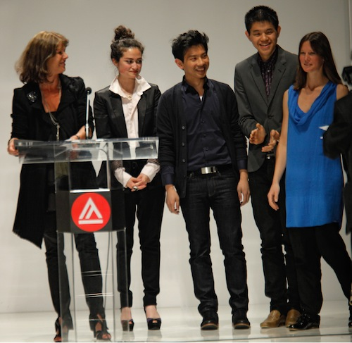 Peter Yang, center, being awarded the internship with Studio Berçot