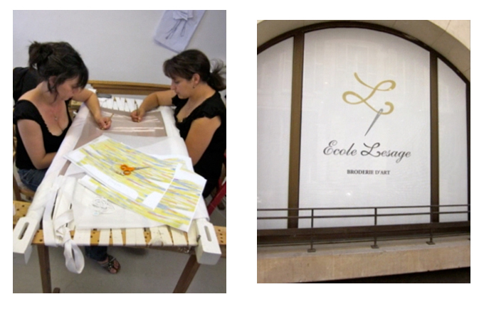 Left - Stitching the beautiful embroidery; Right - The School of Embroidery next to the Atelier