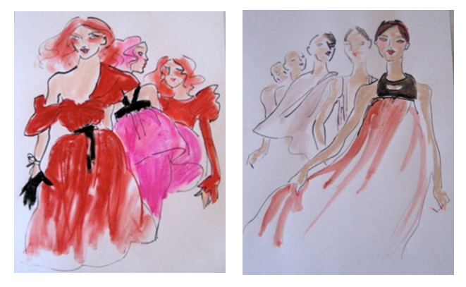 The original drawings Gladys created for Mercedes-Benz Fahsion Week