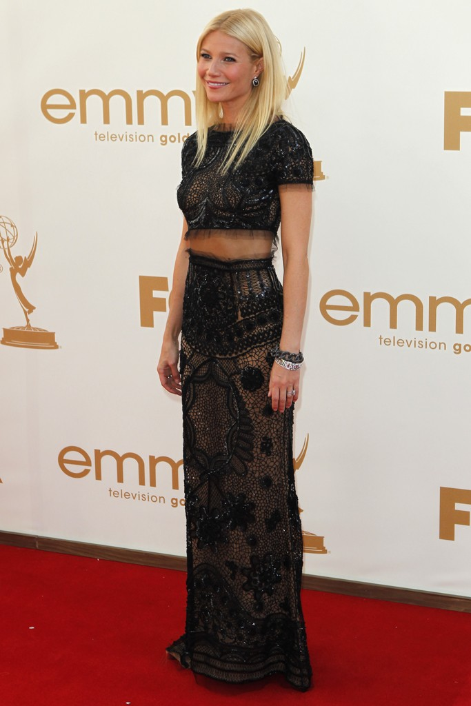 Gwyneth Paltrow brought sexiness to the red carpet in this beaded, black, see-through Emilio Pucci design.