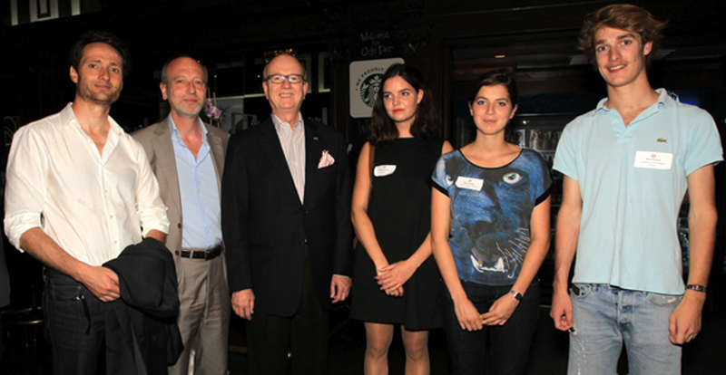 Ivan Bertoux, Denis Bisson, Hon. Thomas E. Horn, student Pauline Giraut, student Marine Gabet, and student Pierre Parent