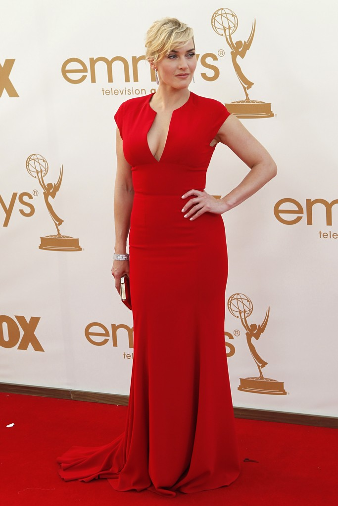Outstanding Lead Actress in a Miniseries winner, Kate Winslet in a classic red Elie Saab dress
