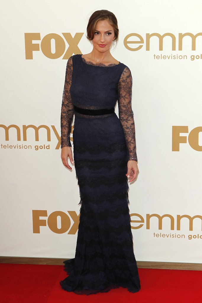 Minka Kelly looking beautifully chic in a Christian Dior navy lace gown and Tiffany & Co. jewels