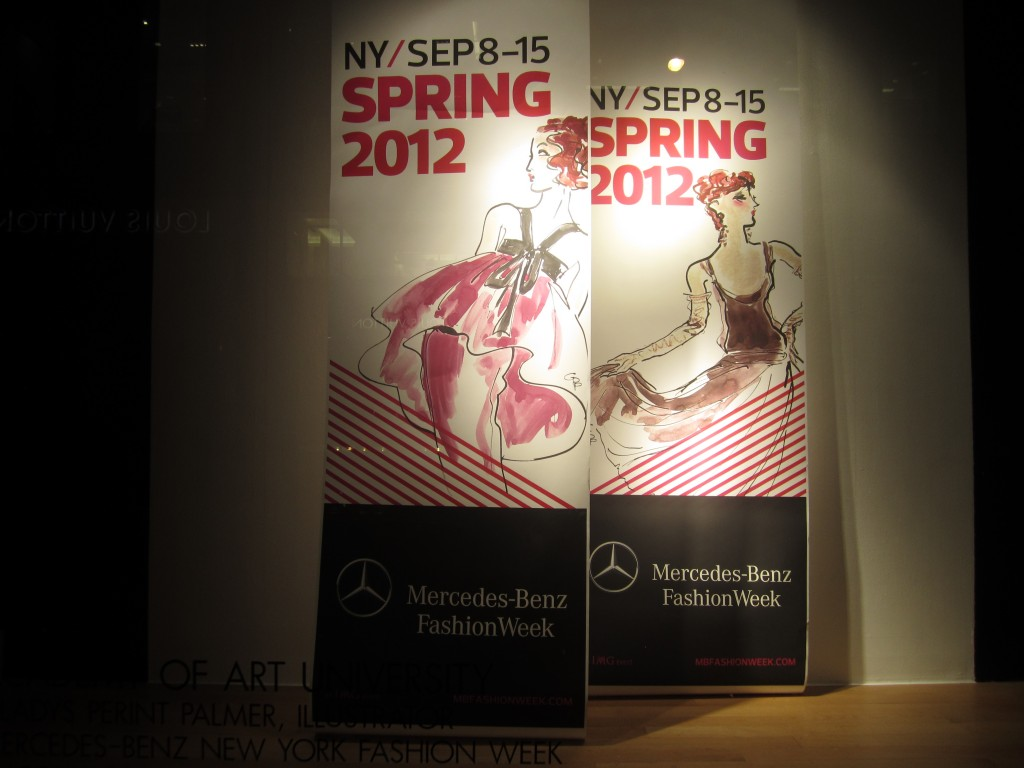 Mercedes-Benz Fashion Week Banners Illustrated by Gladys Perint Palmer