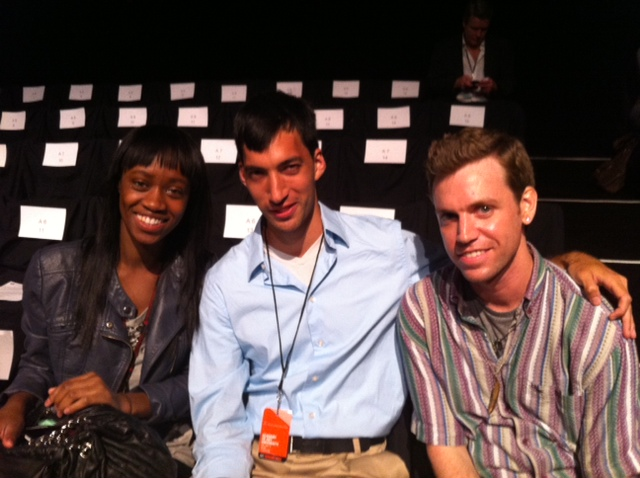 Students from the School of Fashion at the Spring 2012 Show at Mercedes-Benz Fashion Week (L to R: Ki-Anna Drayton, Gerry Sung, Daniel Jennings)