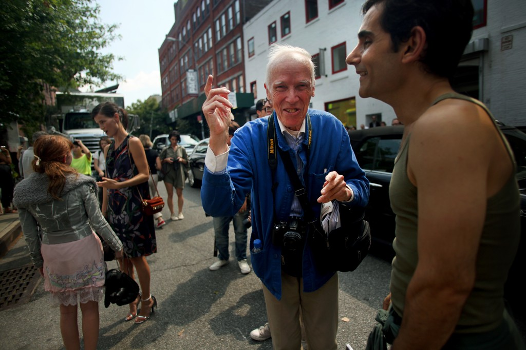 Bill Cunningham backstage at Rodarte