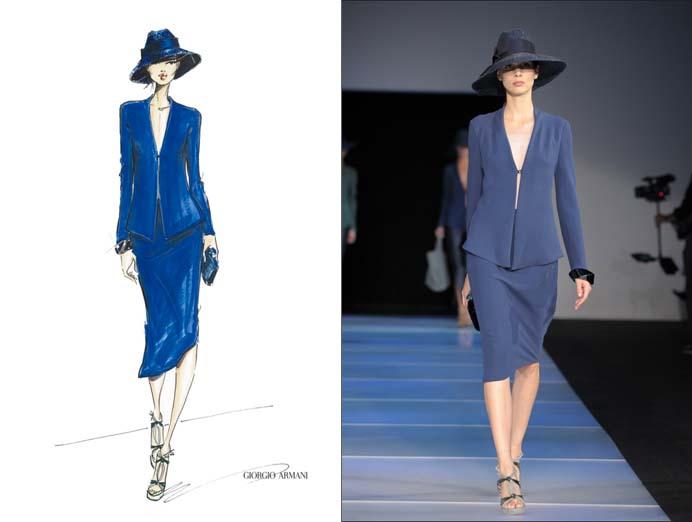 Sketch of Giorgio Armani design with photo of designed garment