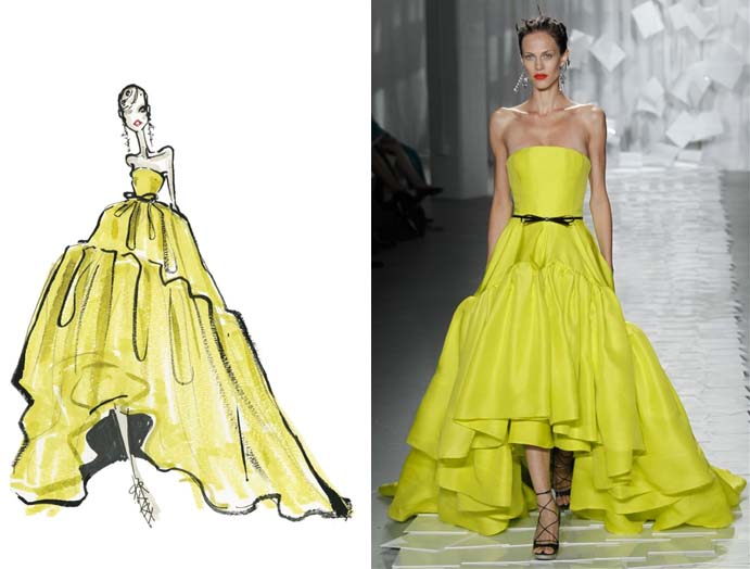 Sketch of Jason Wu design with photo of designed garment