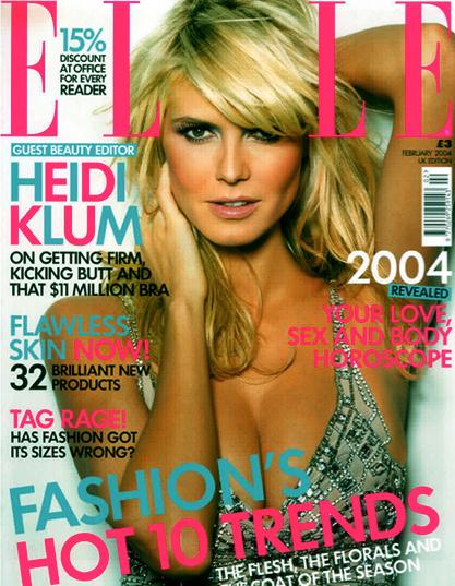Heidi Klum on the February 2004 Elle cover