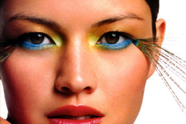 Photo of model with colorful eye makeup