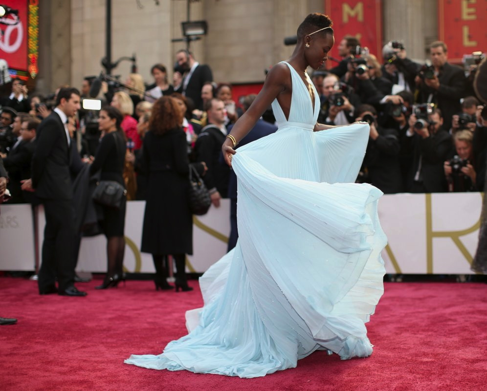 Lupita Nyong'o arriving at the 86th Academy Awards