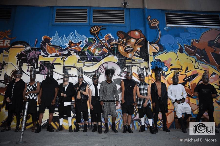 Models showcase co-host Edwin Hayes' urban line SAV NOIR outside of 111 Minna Gallery. Michael Moore Photography