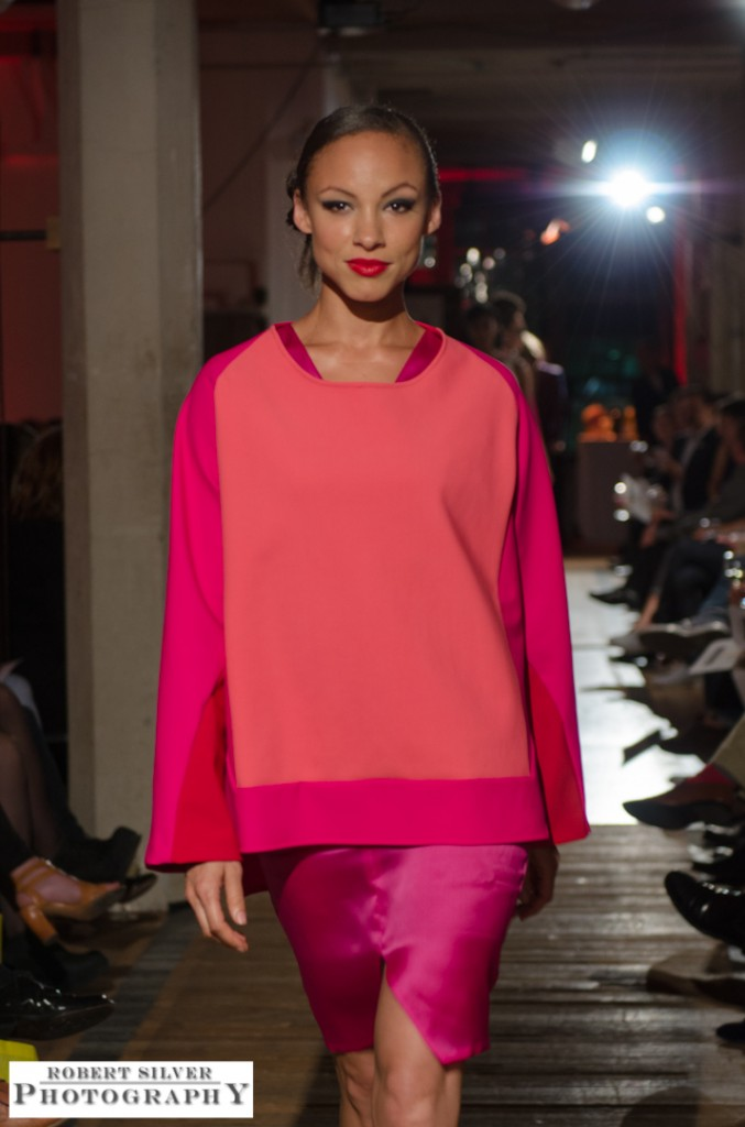 Model wearing a color-block shift dress by designer sounthavong. Photo by Robert Silver.