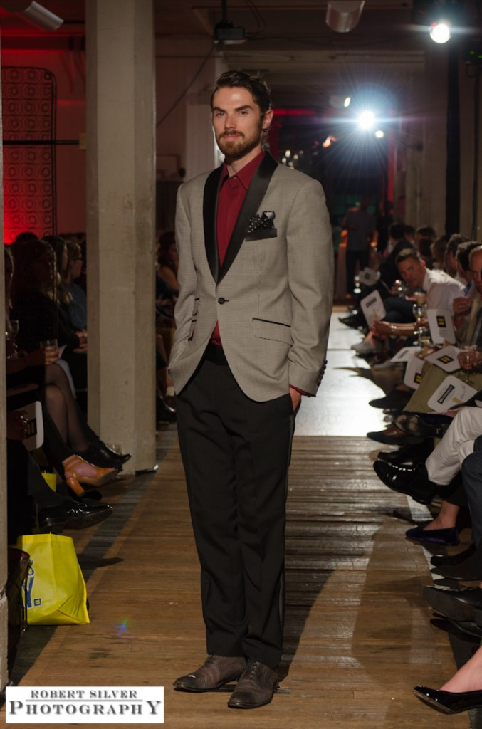 Model wearing a vintage inspired suit look from Artful Gentleman's Fall collection. Photo by Robert Silver.