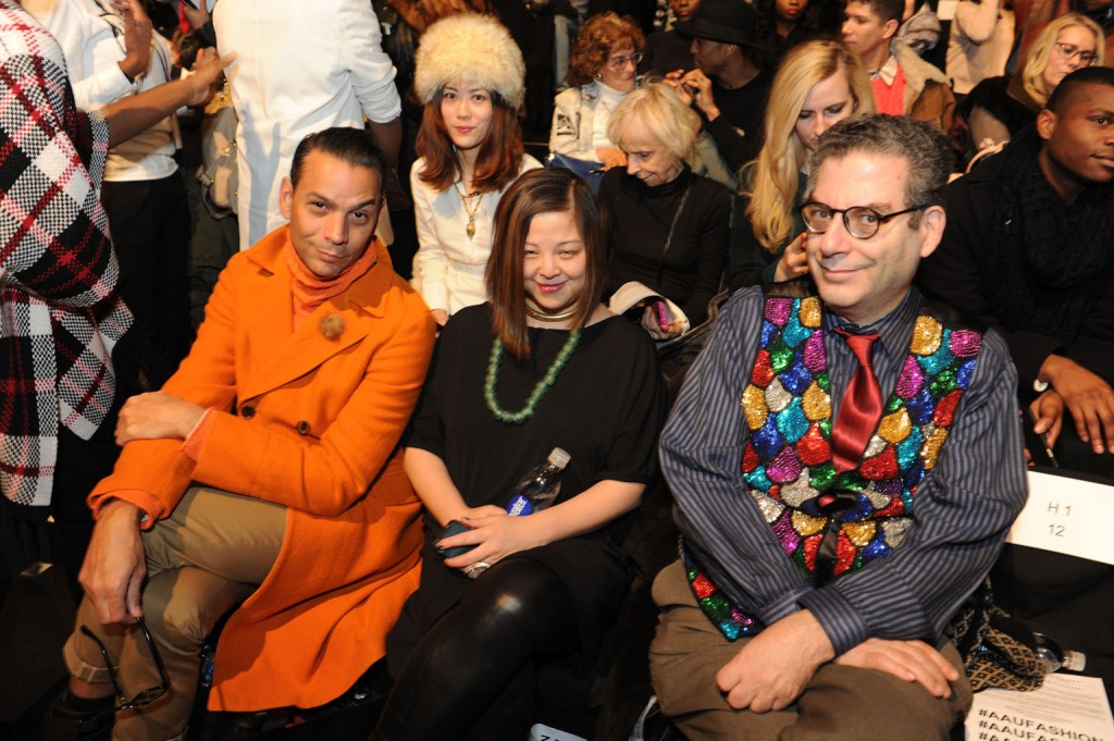 James Aguiar, National fashion director of Modern Luxury, a fashion show guest, and journalist Michael Musto.   Image: David Dooley