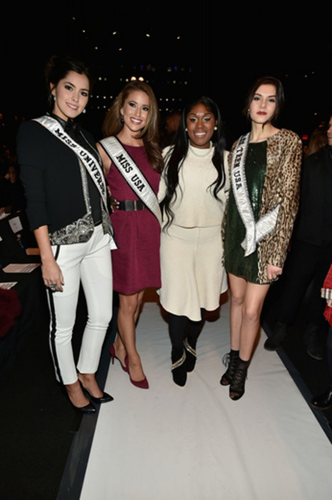 Miss Universe 2014 Paulina Vega, Miss USA 2014 Nia Sanchez, singer Tarralyn Ramsey, and Miss Teen USA 2014 K. Lee Graham.   Image: Getty Images