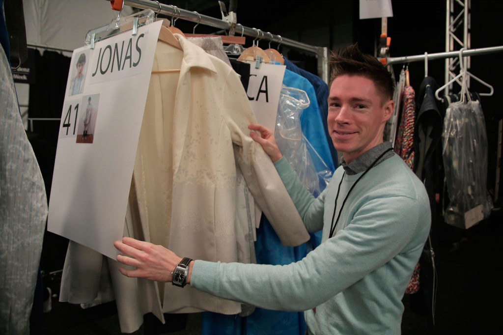 Kevin C. Smith, M.F.A. Fashion Design showing off his collection.   Image: Randy Brooke/Getty Images