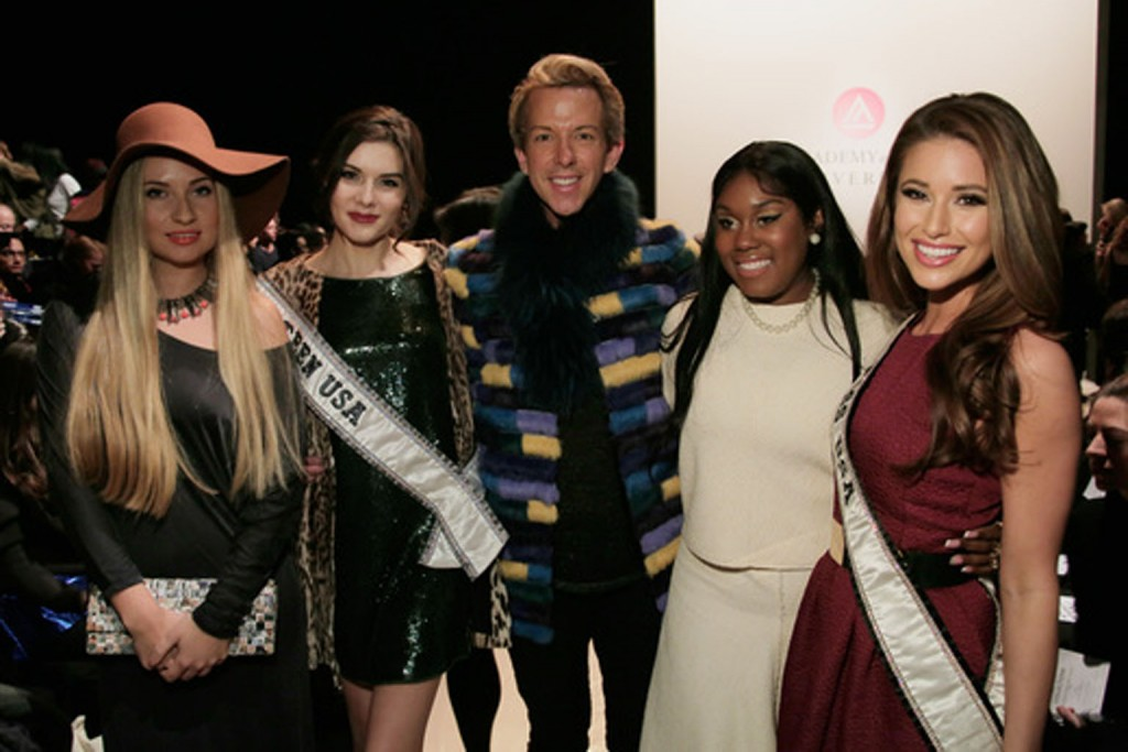 Fashion show guest, Miss Teen USA 2014 K. Lee Graham, stylist Derek Warburton, singer Tarralyn Ramsey, and Miss USA 2014 Nia Sanchez.   Image: Getty Images