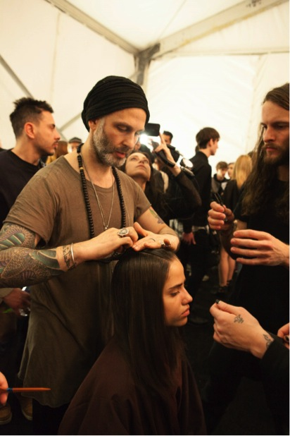 Jon Reyman at backstage at Academy of Art University show during NYFW. Image courtesy of Stacy Murphy Photography.