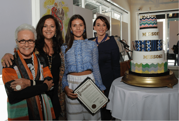 Rosita, Angela and Margherita Missoni with Academy of Art University President Elisa Stephens