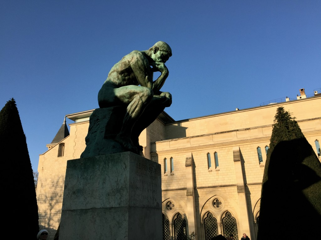 "Auguste Rodin's ""The Thinker"" monument outside the Rodin Museum"