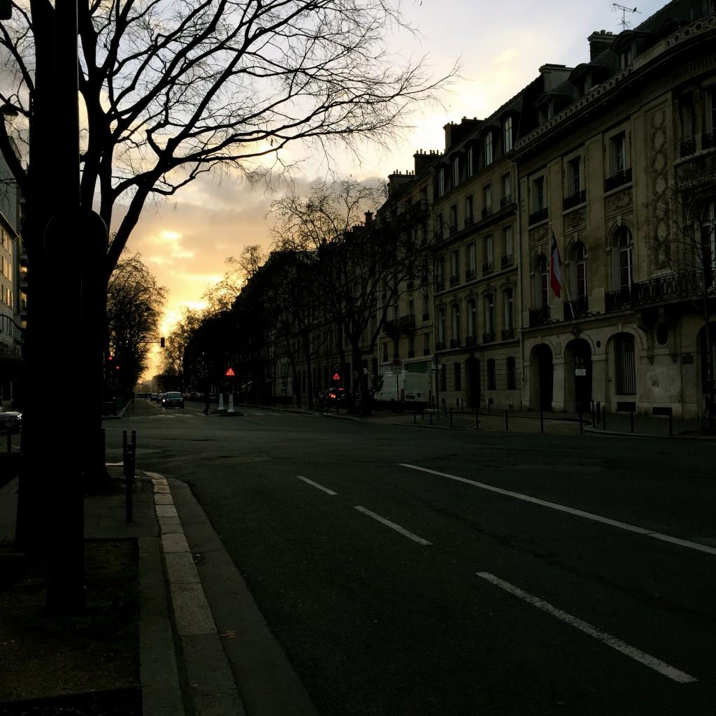 A Parisian street at sunset.  Zhangchi Wang