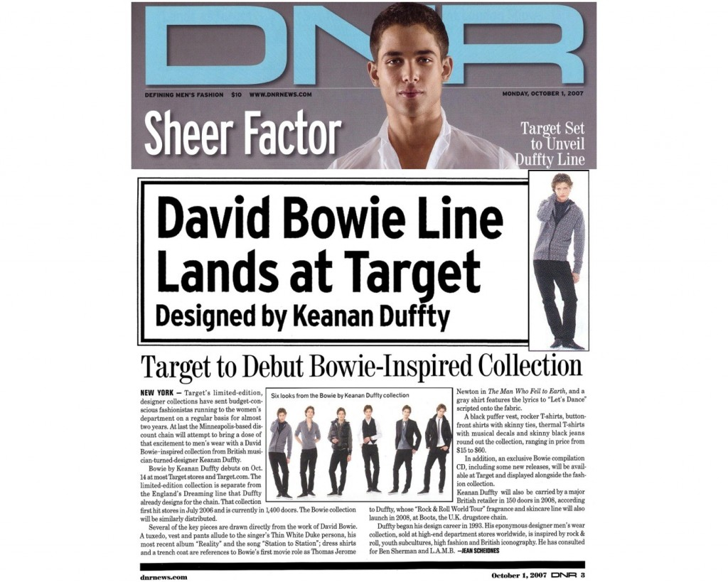 Keanan Duffty and David Bowie collaboration for Target Stores.