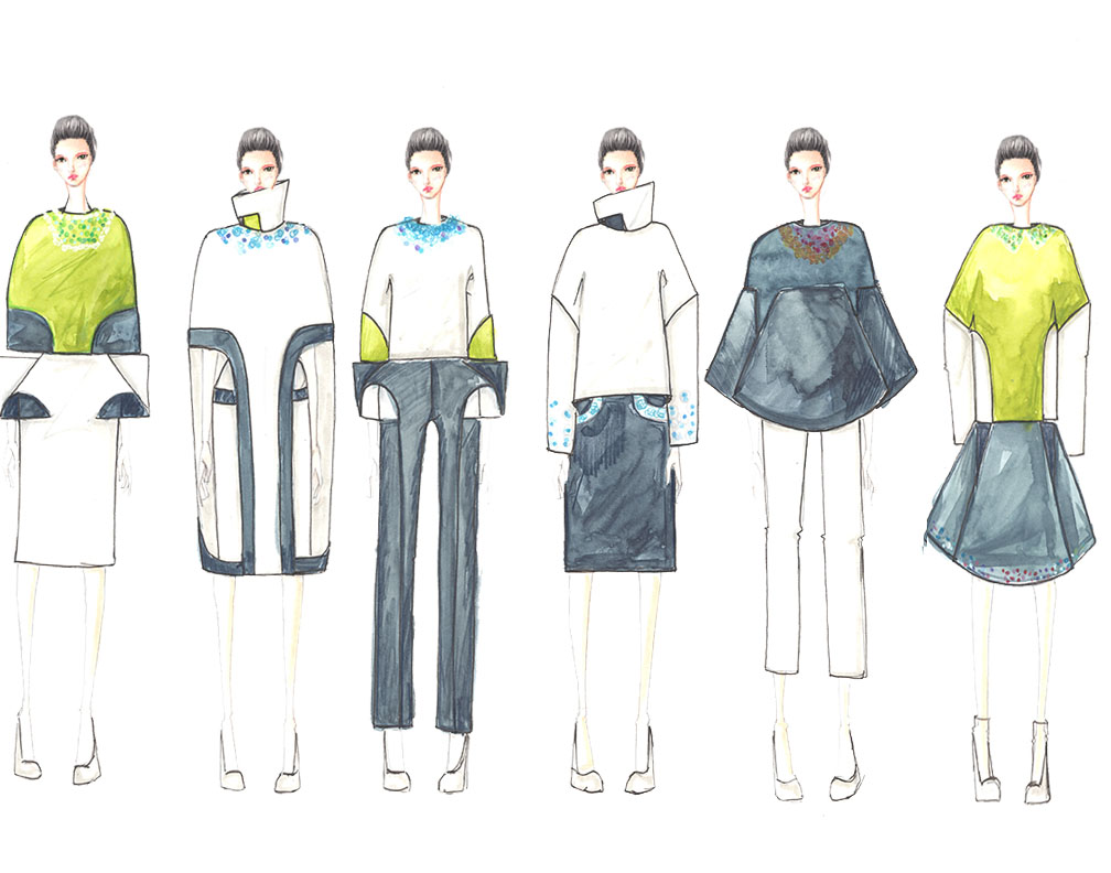 Yunseon Kim Collection Illustration Lineup. Image: courtesy of Yunseon Kim.