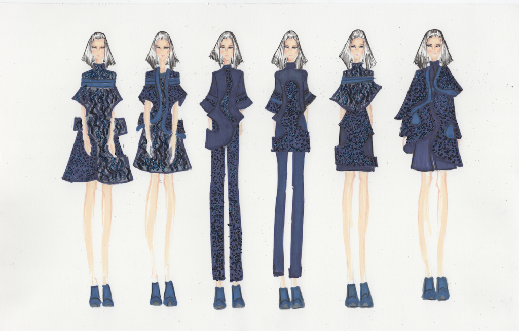 Illustrated lineup of Patricia Wijaya's graduation collection. Image: courtesy of Patricia Wijaya