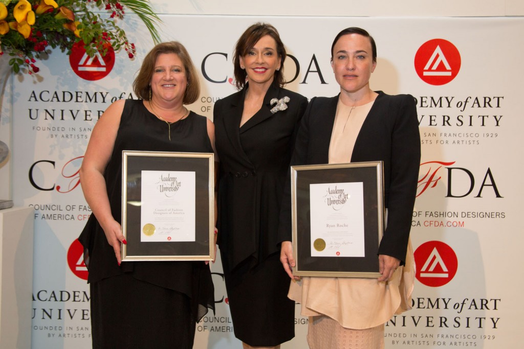: Lisa Smilor, Executive Director of the Council of Fashion Designers of America (CFDA), Academy of Art University President Elisa Stephens and Ryan Roche, Academy of Art University School of Fashion alumna and designer with awards