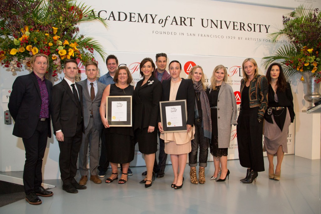 Keanan Duffty, Academy of Art University Senior Director of Fashion Merchandising with Academy of Art University School of Fashion guests of honor: Danny Roberts of Igor + André and brother David Roberts; Andy Shearer, Senior Design and Innovation Recruiter at Adidas; Lisa Smilor, Executive Director of the Council of Fashion Designers of America (CFDA); Academy of Art University President Elisa Stephens; Cameron Silver of Decades; Ryan Roche, Academy of Art University School of Fashion alumna and designer; Sue Stemp of St. Roche; Monica Miller, Senior Design Director of BCBG Max Azria Group; Lubov Azria, Chief Creative Officer of BCBG Max Azria Group; and Sara Kozlowski Senior Manager of Professional Development of the Council of Fashion Designers of America (CFDA)