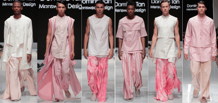 Photo of male models wearing clothing designed by Dominic Tan