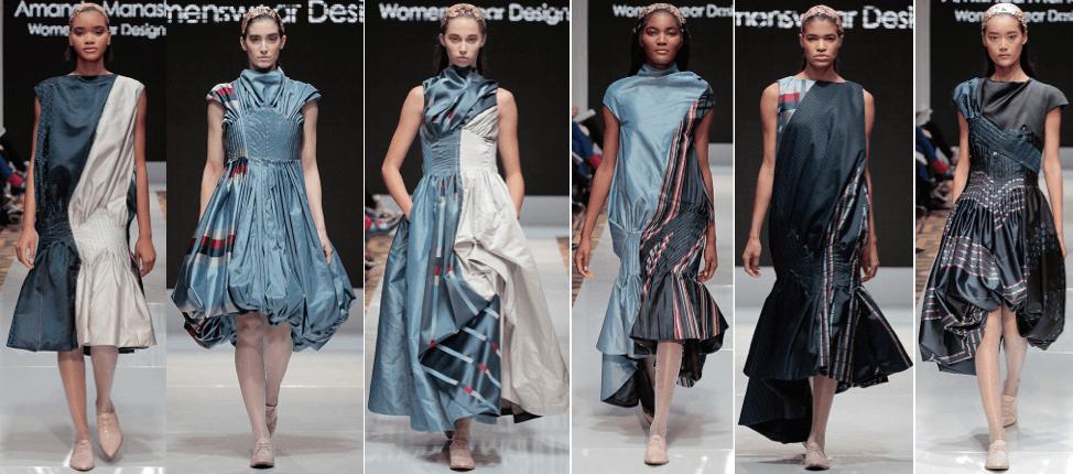 Photo of female models wearing clothing designed by Amanda Manashi