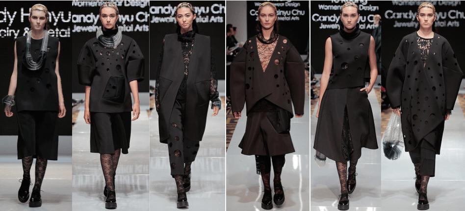 Photo of female models wearing clothing designed by Ye Kuang and Candy Hsinyu Chu