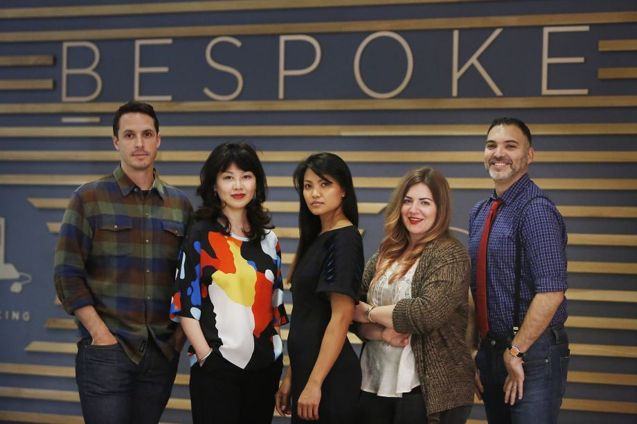 Scott Ellison, Pladra designer; Jessie Liu, Simple Pair designer; Carlos, Kajan Cake designer; Stephanie Bodnar, Evgenia designer, and Peter Papas, Blade + Blue designer pose for a portrait at Bespoke at Westfield San Francisco Centre,