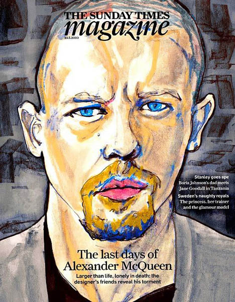 An illustrated portrait of Alexander McQueen by Danny Roberts.